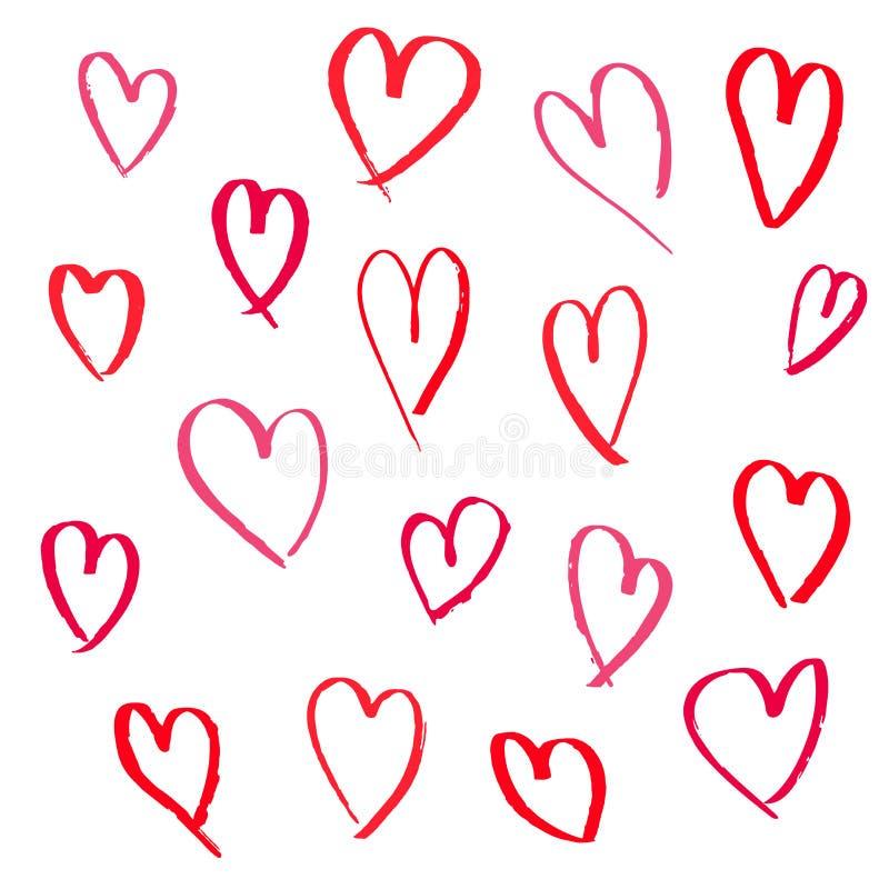 Fije de corazones exhaustos de la mano en el fondo blanco libre illustration