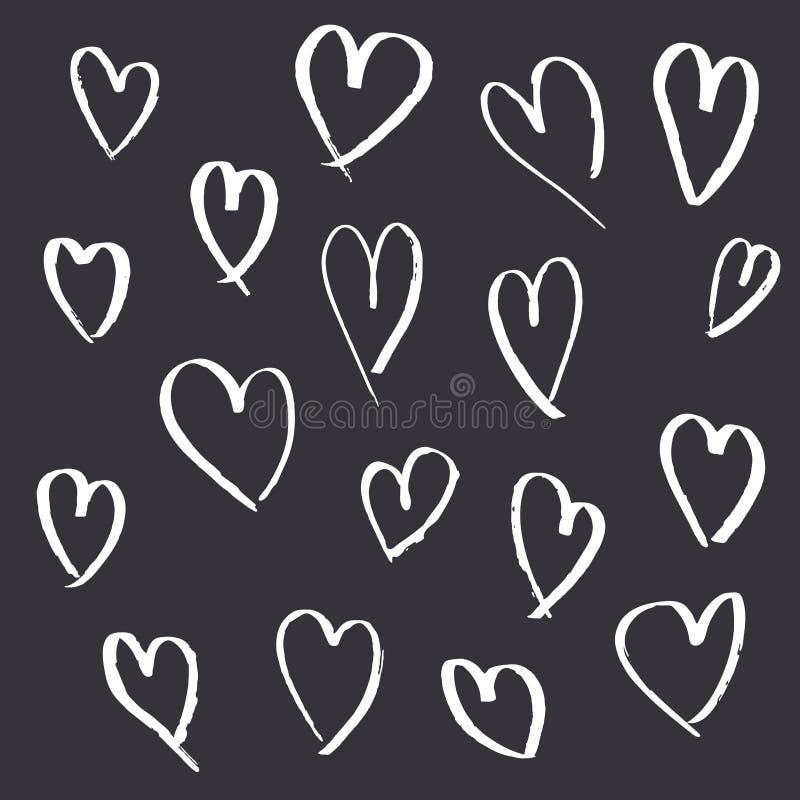 Fije de corazones exhaustos de la mano en fondo gris libre illustration