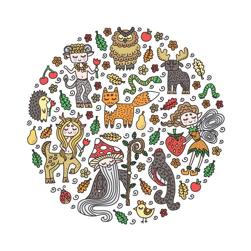 Fije de criaturas lindas del bosque Animales salvajes y criaturas del cuento de hadas Garabatos a mano Elementos de la decoración stock de ilustración