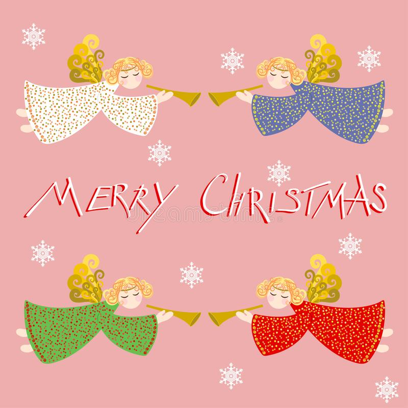 Fije de cuatro ángeles de la Navidad Ilustración del vector Con una inscripción ilustración del vector
