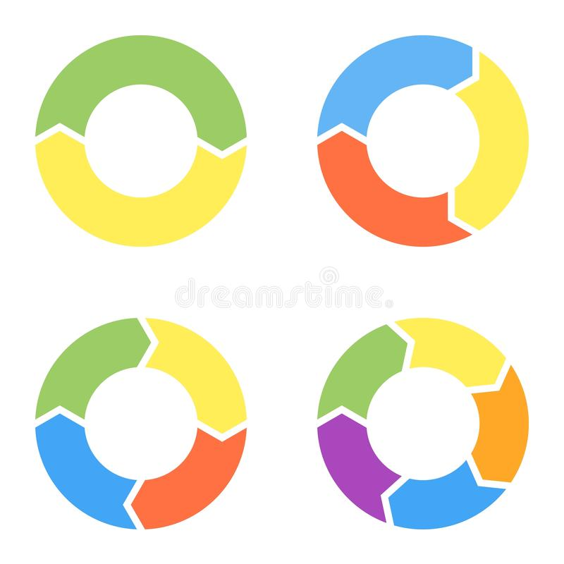 Fije de cuatro artículos circulares para el infographics ilustración del vector