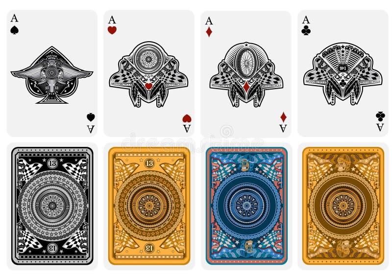 Fije de cuatro as de las espadas, as de diamantes, as del club, as de corazones en estilo de la motocicleta Cara con el motor de  ilustración del vector