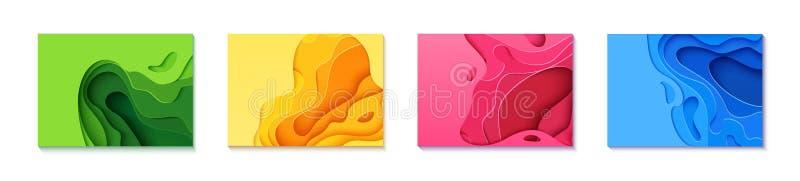 Fije de cuatro aviadores horizontales en estilo de papel cortado Plantilla azul, verde, amarilla y rosada para los carteles, foll stock de ilustración