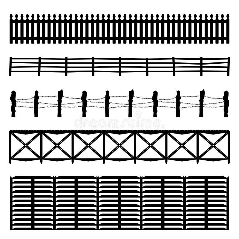 Fije de cuatro cercas negras aisladas sobre el fondo blanco, sistema de madera de la cerca de la silueta ilustración del vector