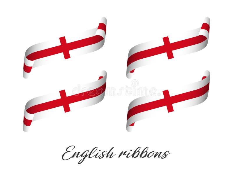 Fije de cuatro cintas coloreadas modernas del vector con colores ingleses stock de ilustración