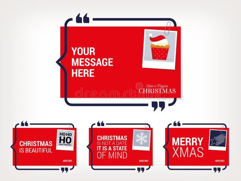 Fije de cuatro citas de los deseos de la Navidad del vector ilustración del vector