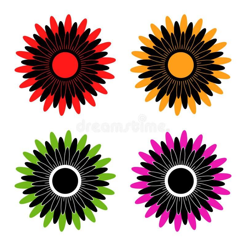 Fije de cuatro flores abstractas con los pétalos negros y coloreados stock de ilustración