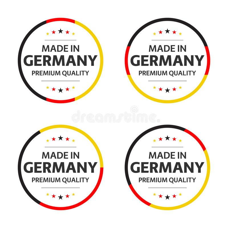Fije de cuatro iconos alemanes, del título inglés hecho en Alemania, de etiquetas engomadas superiores de la calidad y de símb ilustración del vector