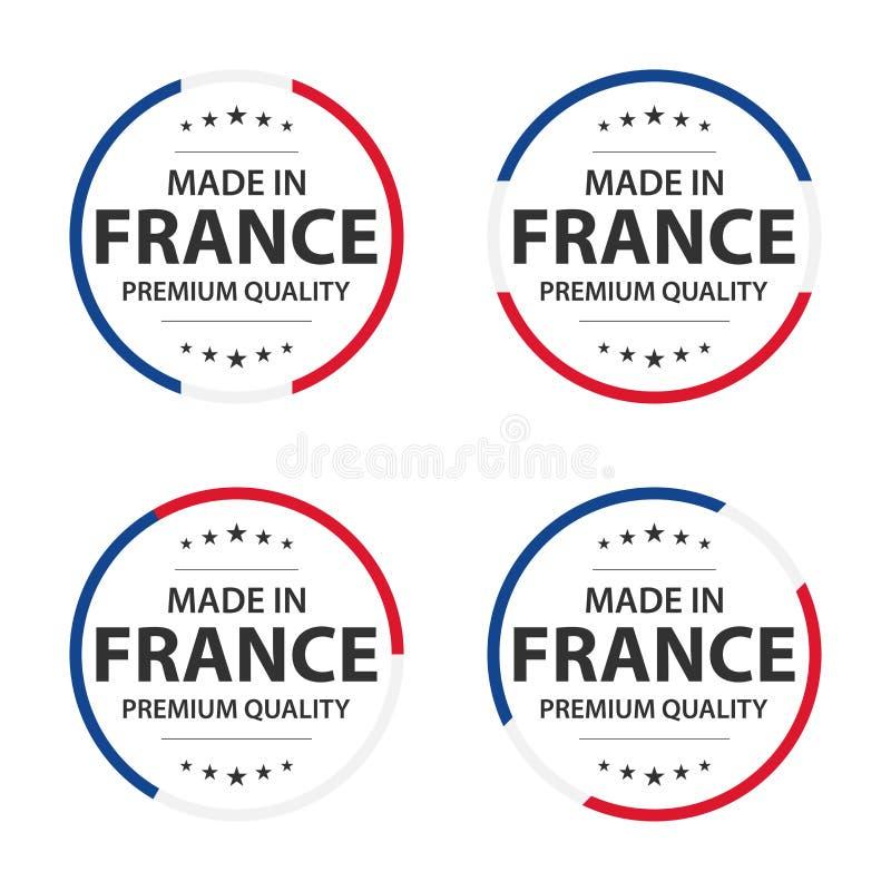 Fije de cuatro iconos franceses, hecho en Francia, etiquetas engomadas superiores de la calidad y símbolos con las estrellas libre illustration