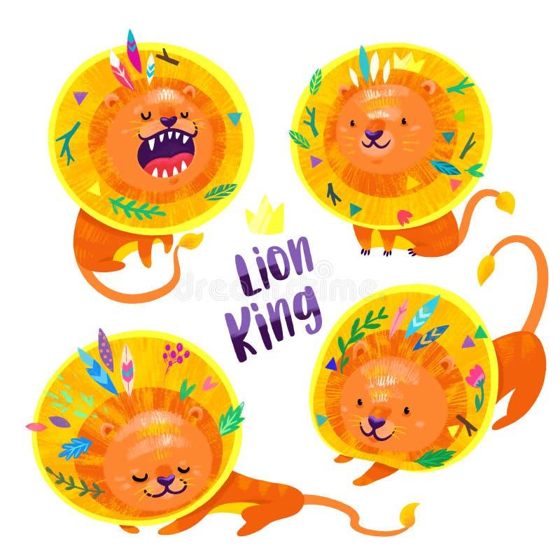 Fije de cuatro leones con las plumas y de hojas en su pelo stock de ilustración