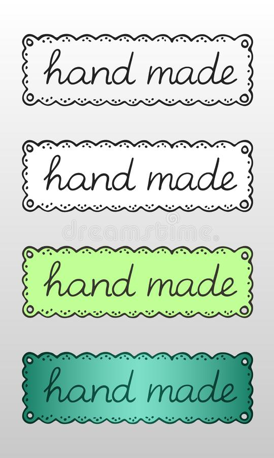 Fije de cuatro logotipos o etiquetas exhaustos de la mano con la inscripción 'hecha a mano 'para los productos creativos del empl stock de ilustración