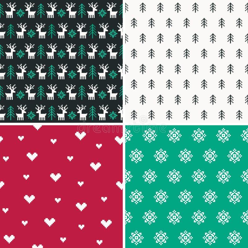 Fije de cuatro modelos del pixel del bosque del invierno fijan 1 libre illustration