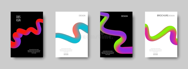 Fije de cubiertas abstractas de moda con las formas líquidas del color para el fondo de la composición Diseño de moda para los ca ilustración del vector