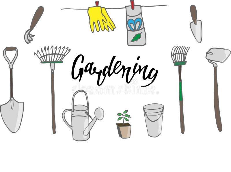 Fije de cultivar un huerto con las plantas en conserva de la pala del rastrillo y otras fuentes del jardín ilustración del vector