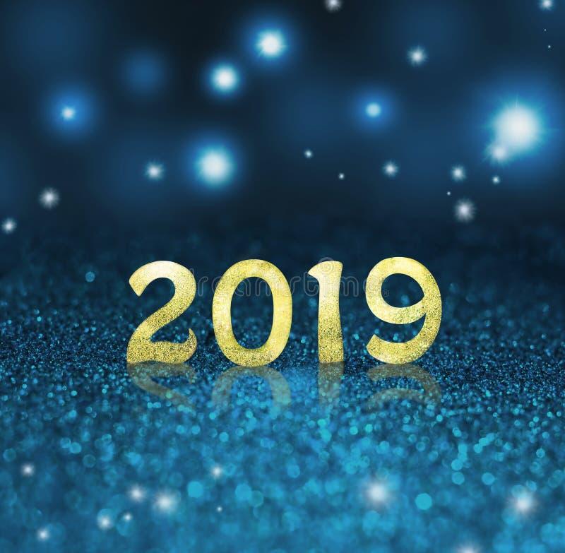Fije de dígitos del oro en fondo del brillo Fondo 2018 del Año Nuevo Navidad imagen de archivo libre de regalías