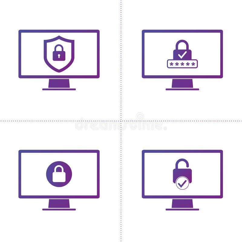 Fije de datos de la información del negocio de la protección de seguridad informática con símbolo del escudo y de la cerradura Re libre illustration