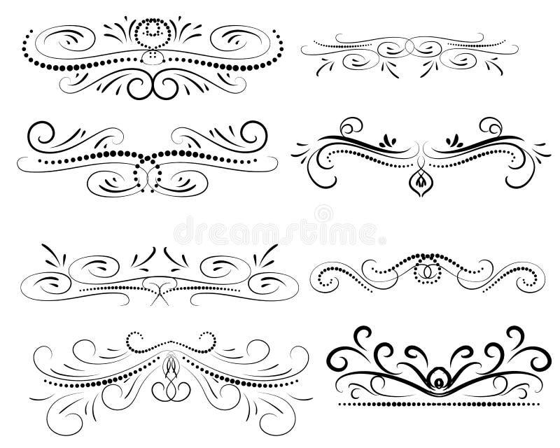 Fije de decorativo prosperan los divisores, fronteras stock de ilustración