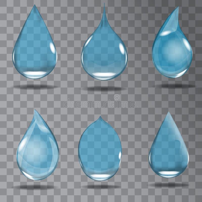 Fije de descensos transparentes realistas en colores azules Ilustración del vector libre illustration
