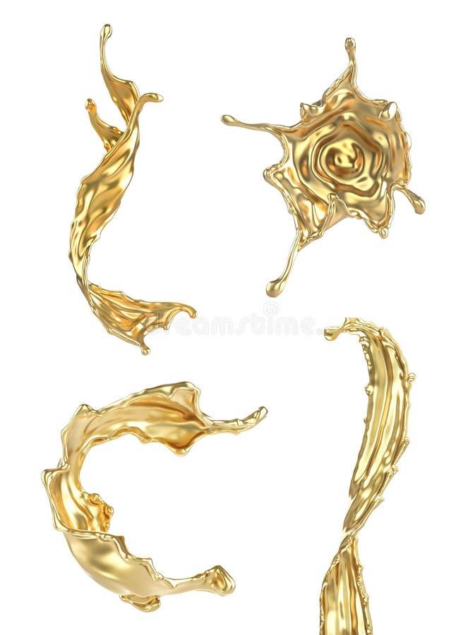 Fije de diferente salpica del oro stock de ilustración