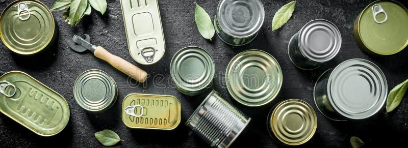 Fije de diferentes tipos de latas con la comida enlatada imagenes de archivo
