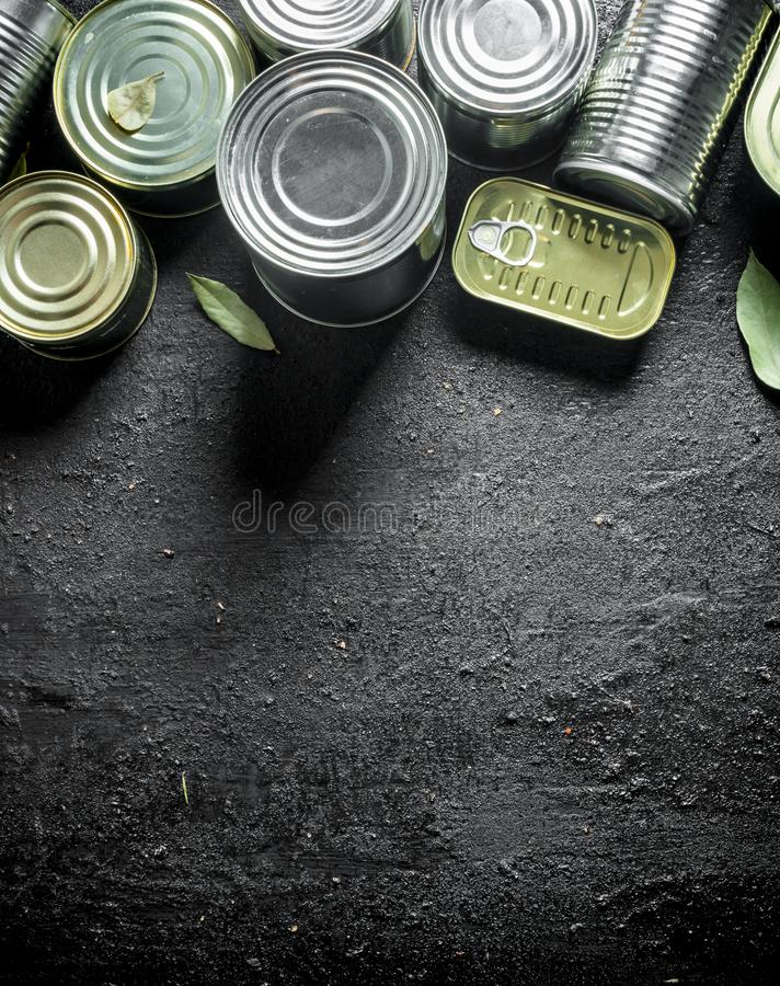 Fije de diferentes tipos de latas con la comida enlatada foto de archivo libre de regalías
