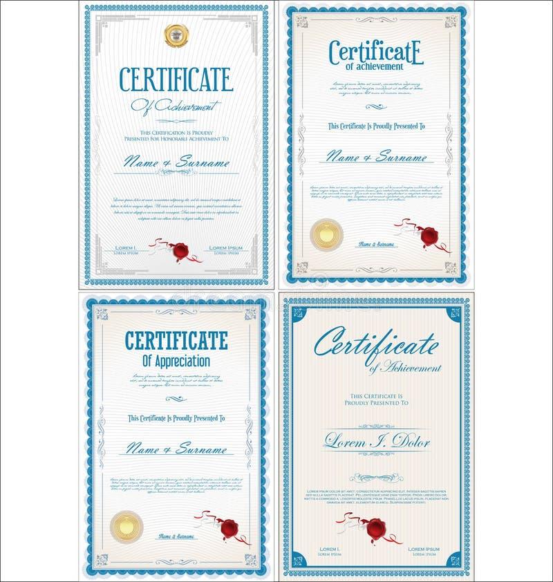 Fije de diseño del certificado del logro con los sellos ilustración del vector