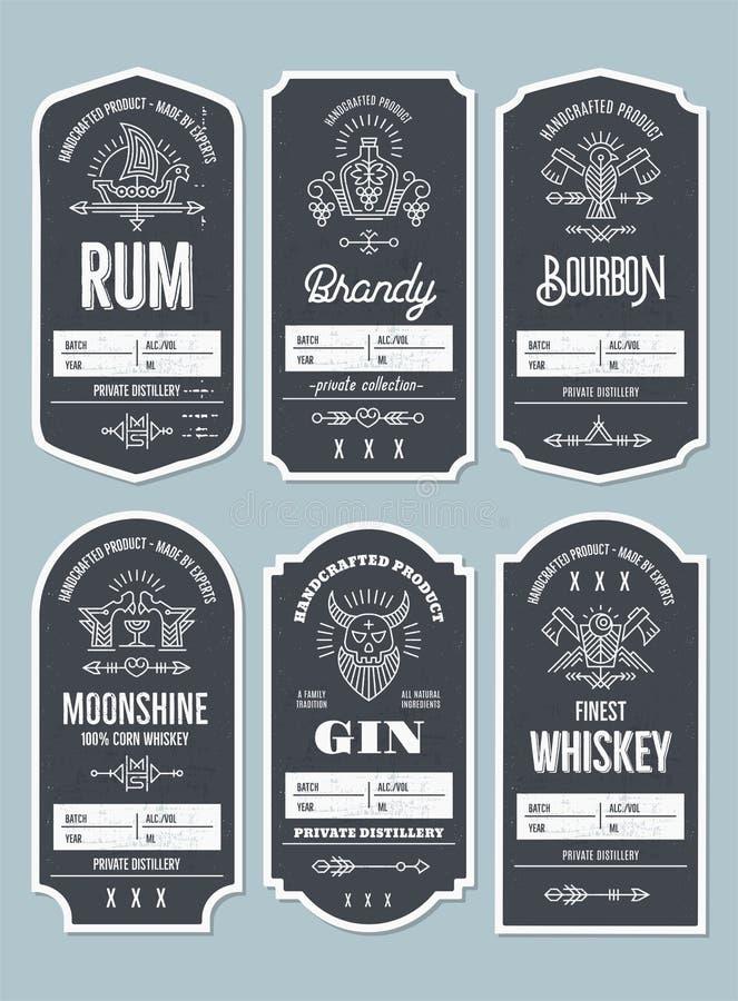 Fije de diseño de la etiqueta de la botella del vintage con los elementos étnicos en fino stock de ilustración