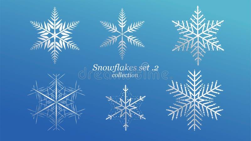 Fije de diseño de la Navidad de los copos de nieve del vector con color de lujo del hielo azul en fondo azul Elemento cristalino  ilustración del vector