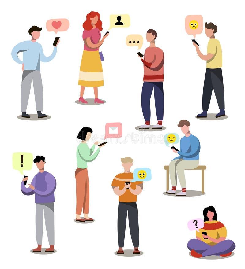 Fije de diversa gente moderna que reciba SMS en el dispositivo libre illustration