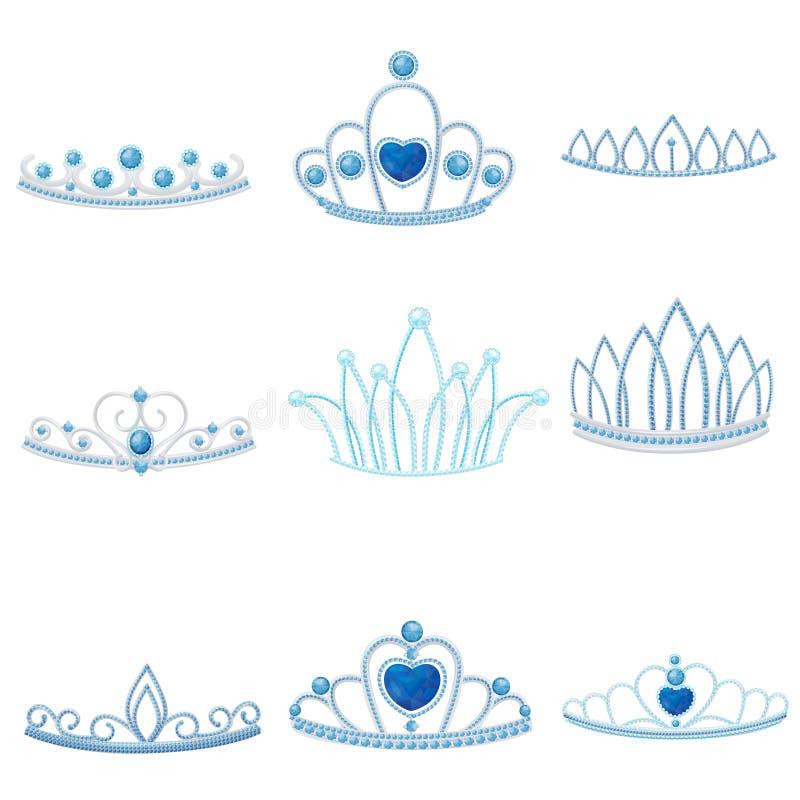 Fije de diversas coronas de plata con la joya grande y pequeña de zafiros Ilustraci?n del vector ilustración del vector
