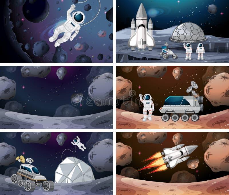 Fije de diversas escenas del espacio libre illustration