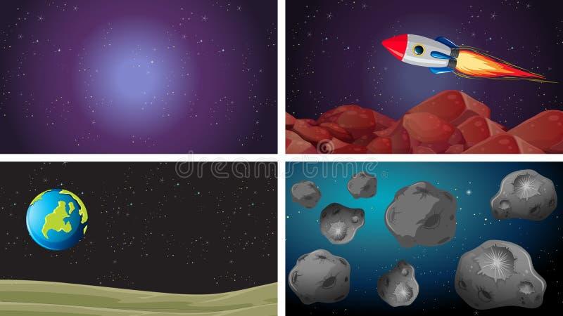 Fije de diversas escenas del espacio stock de ilustración