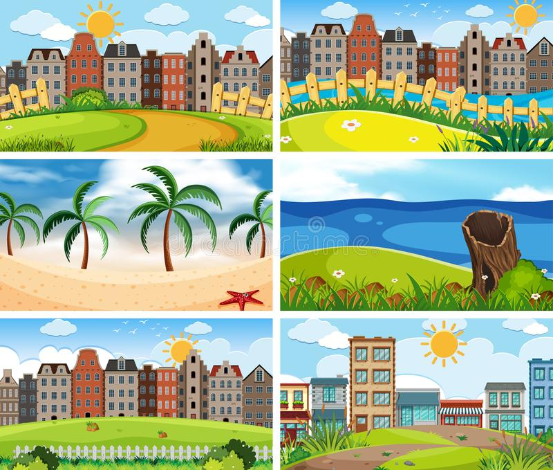 Fije de diversas escenas stock de ilustración