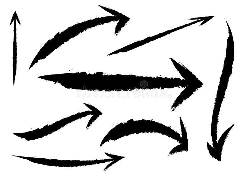 Fije de diversas flechas del cepillo del grunge, indicadores, aislados en el fondo blanco objeto negro del estilo del movimiento  stock de ilustración