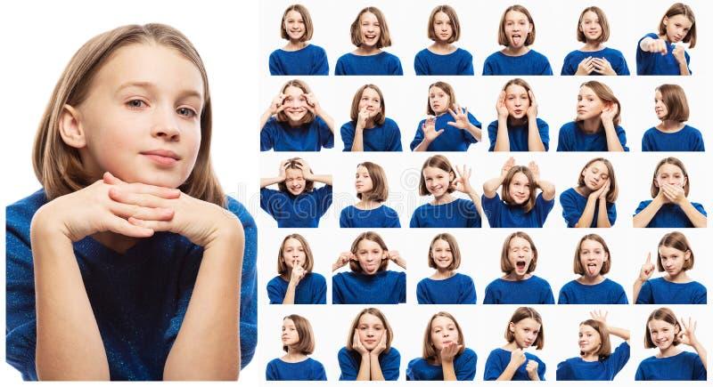 Fije de diversas imágenes emocionales de la muchacha adolescente, primer imagenes de archivo
