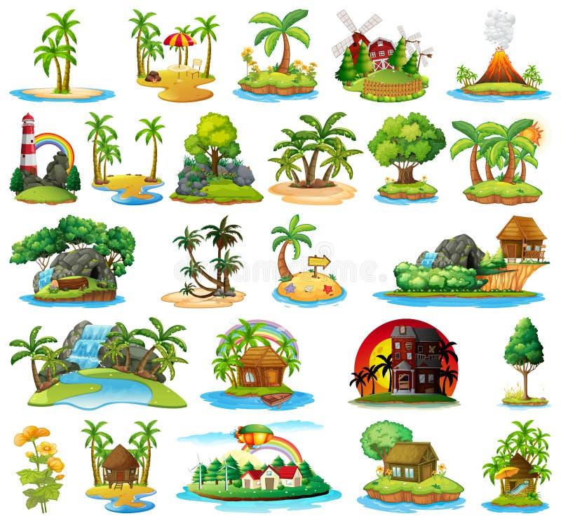 Fije de diversas islas ilustración del vector
