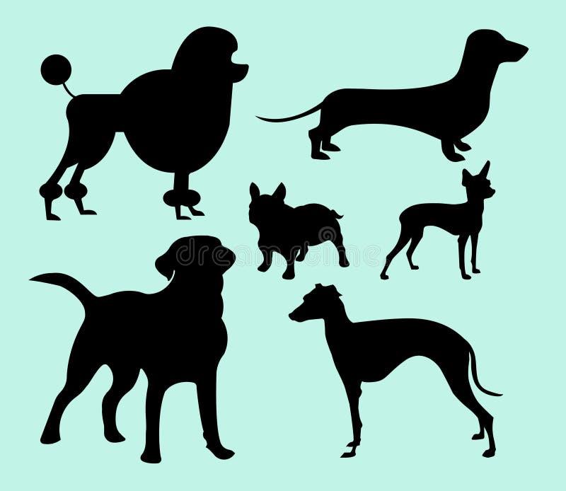 Fije de diversas razas monocromáticas del perro libre illustration
