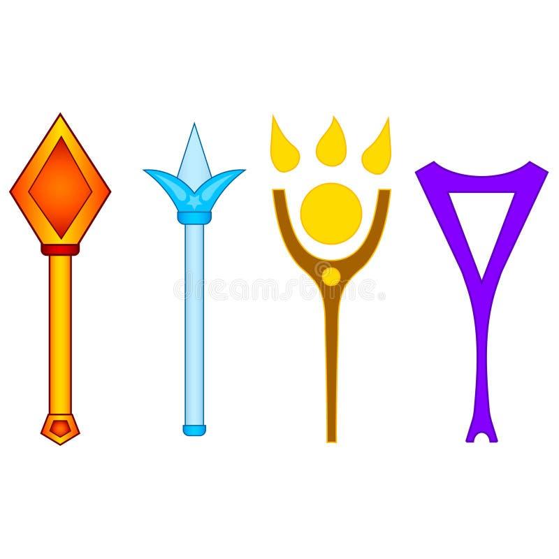 Fije de diversas varas mágicas aisladas en el fondo blanco Arma mágica de la fantasía Ejemplo para su diseño, juego, tarjeta del  libre illustration