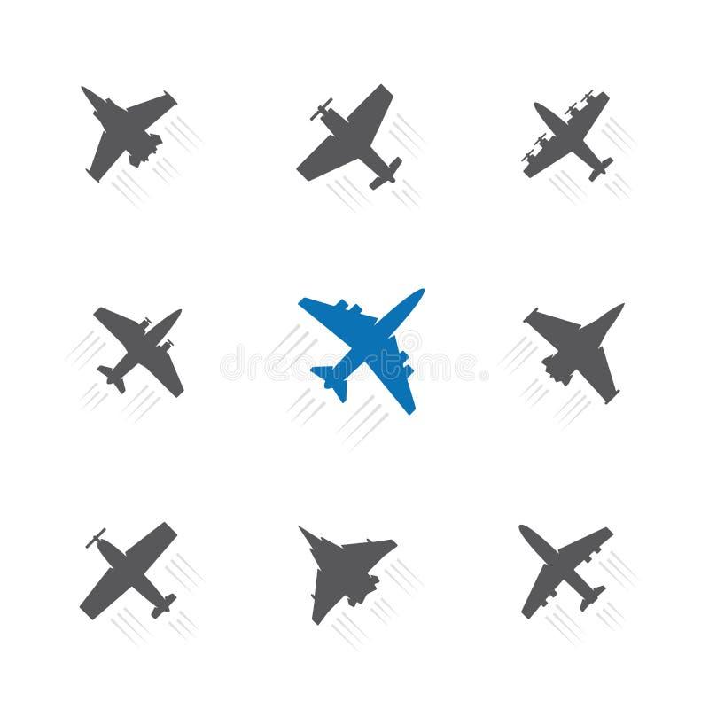 Fije de diverso aeroplano con símbolos del rastro Aviones, silueta del negro del avión stock de ilustración