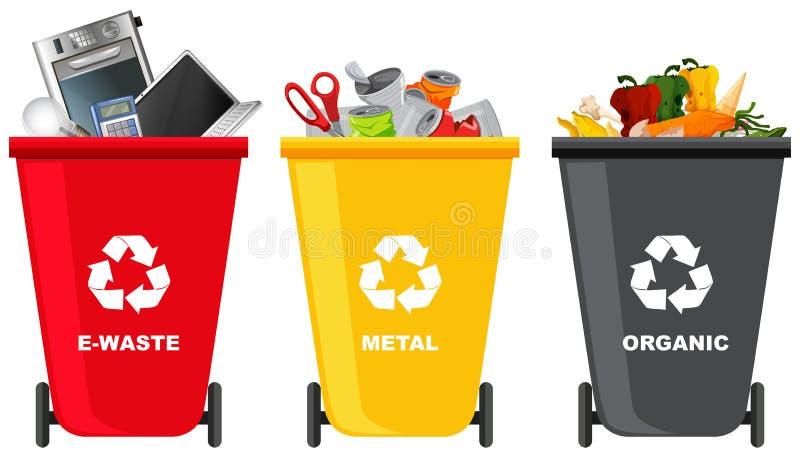 Fije de diverso bote de basura ilustración del vector