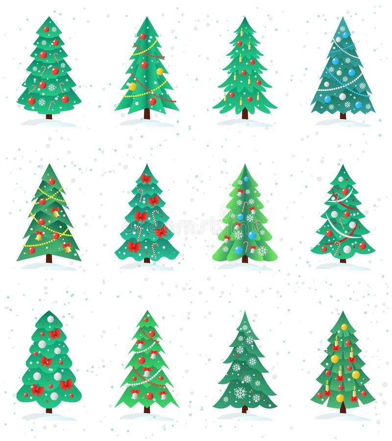 Fije de diverso icono de los árboles de navidad, concepto de la Feliz Año Nuevo libre illustration