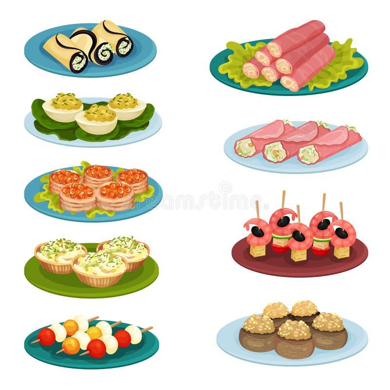 Fije de diversos bocados Comida deliciosa para el banquete del día de fiesta Elementos planos del vector para el menú del café o  stock de ilustración