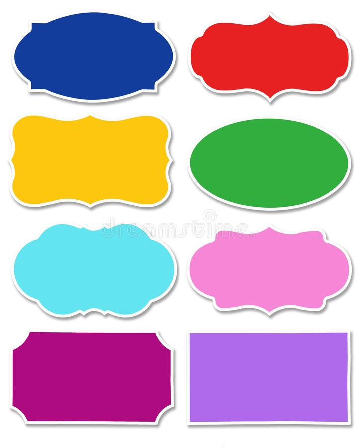Fije de diversos colores de la etiqueta con diversa forma aislada en el fondo blanco ilustración del vector