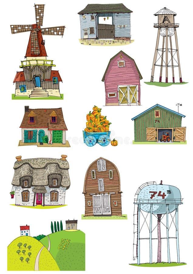 Fije de diversos edificios rurales stock de ilustración