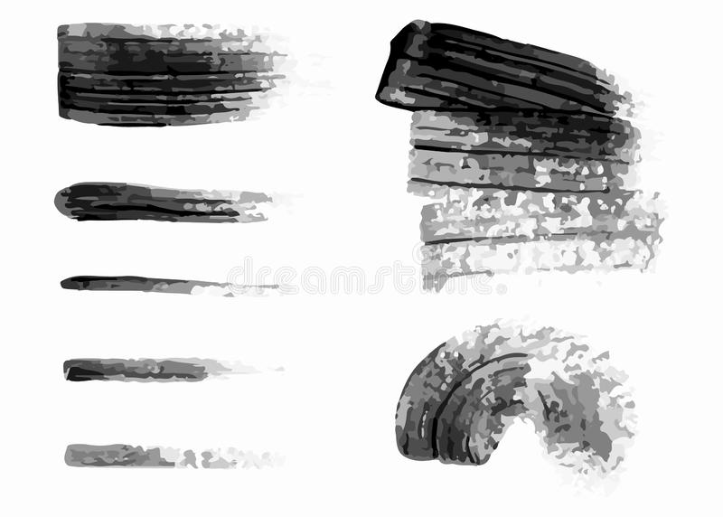 Fije de diversos movimientos del cepillo de la tinta, líneas de los cepillos, remolinos, manchas negras de la pintura Ilustraci?n libre illustration