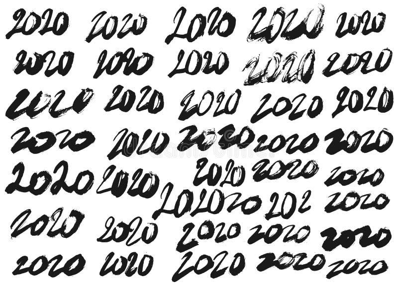 Fije de diversos números a mano 2020 stock de ilustración