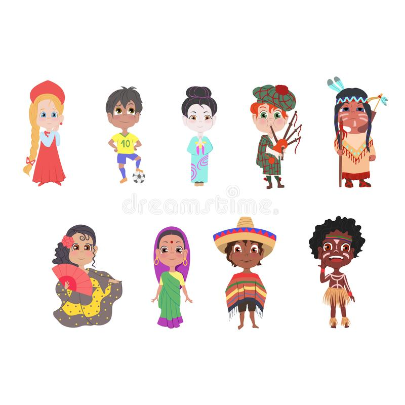 Fije de diversos niños nacionales del país en ropa colorida libre illustration