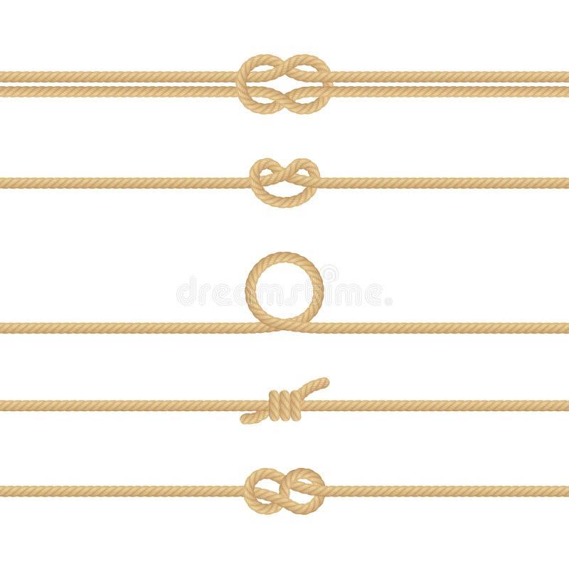 Fije de diversos nudos náuticos de la cuerda Elementos de la decoración en el fondo blanco EPS 10 ilustración del vector