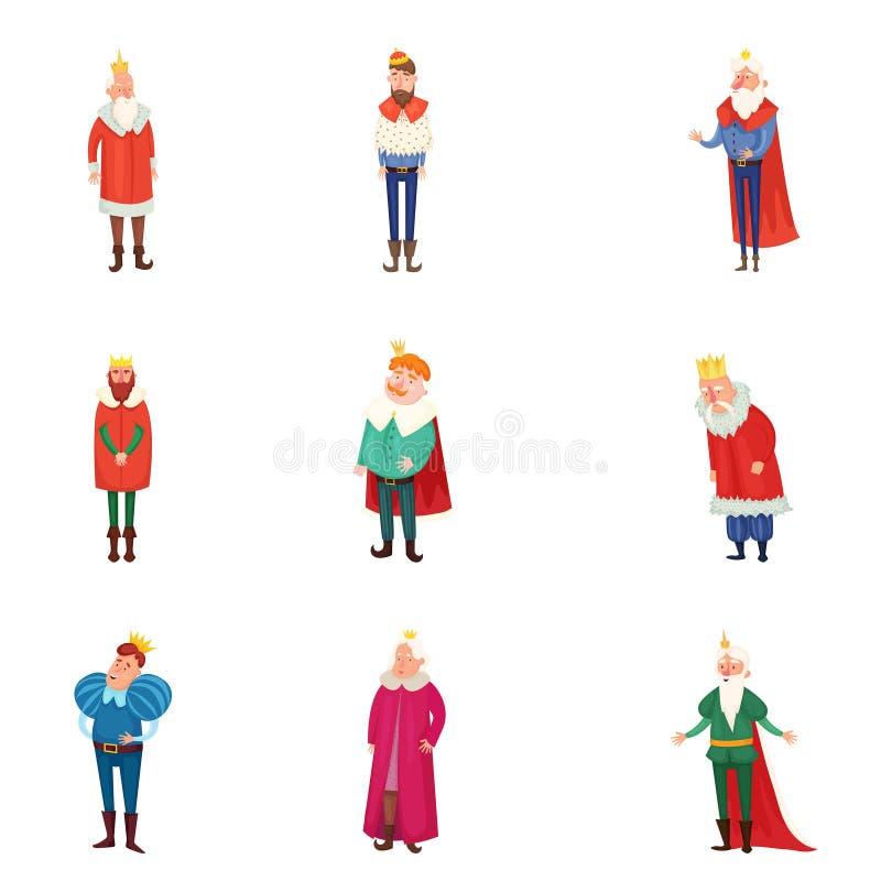 Fije de diversos reyes reales en ropa y corona coloridas del oro stock de ilustración