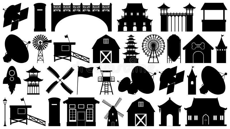 Fije de diversos tipos de la silueta de edificios ilustración del vector